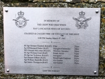 Memorial on the Edith WEston Church gate to crashed Lancaster in Edith Weston
